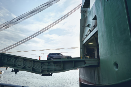 Volvo cars being exported over Gothenburg