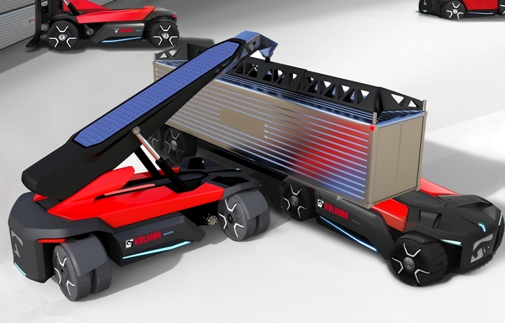 Kalmar's vision: note that the reach stacker can work in much narrower aisles