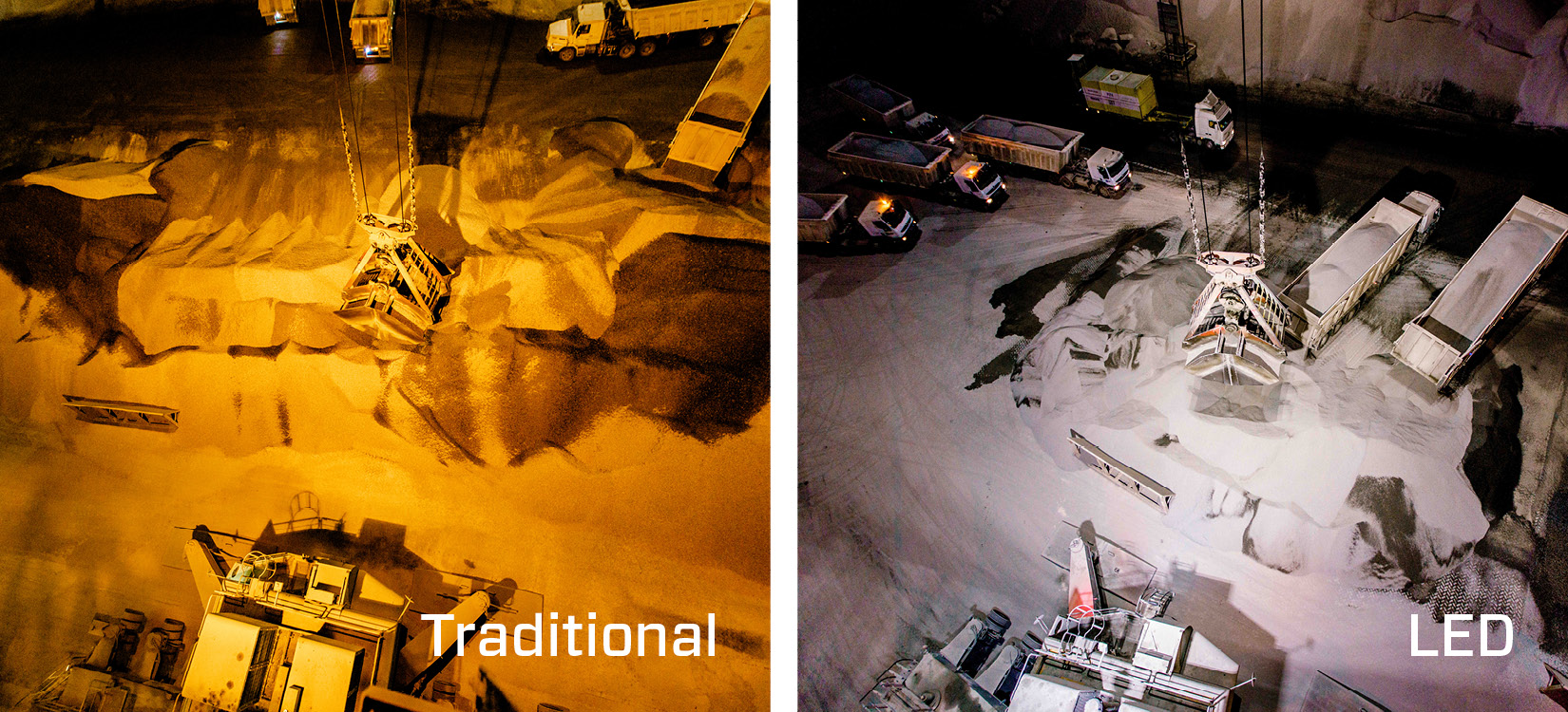 The crane working area at RAK Ports before and after LED light