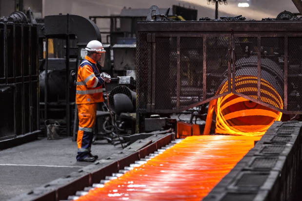 Wire rod being manufactured at British Steel in Scunthorpe