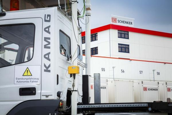 DB Schenker testing Wiesel, an automated swap body transfer vehicle, at its site in Nuremberg