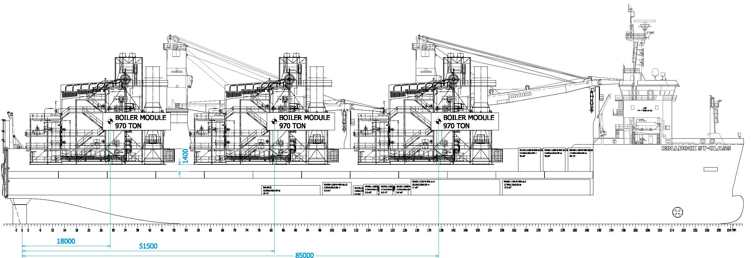 Stowage plan for the Macchi boilers