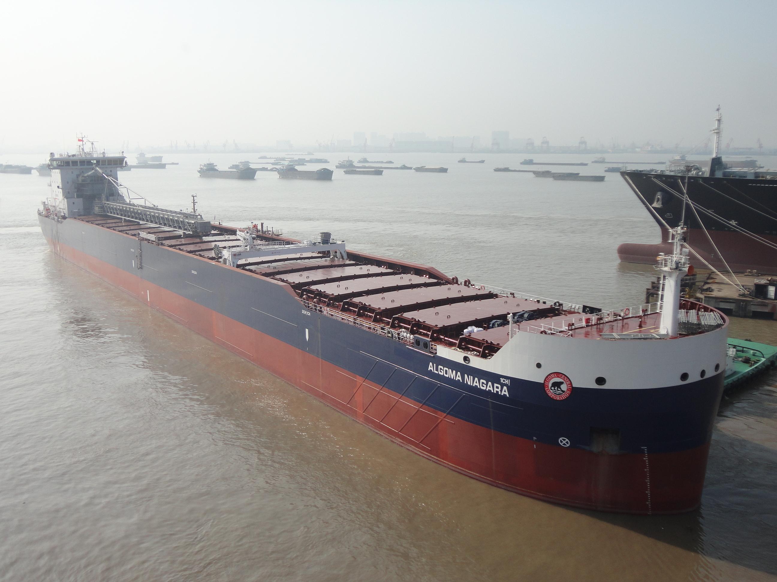 The ALGOMA NIAGARA is the first of three Equinox selfunloaders built at the Yangzijiang shipyard