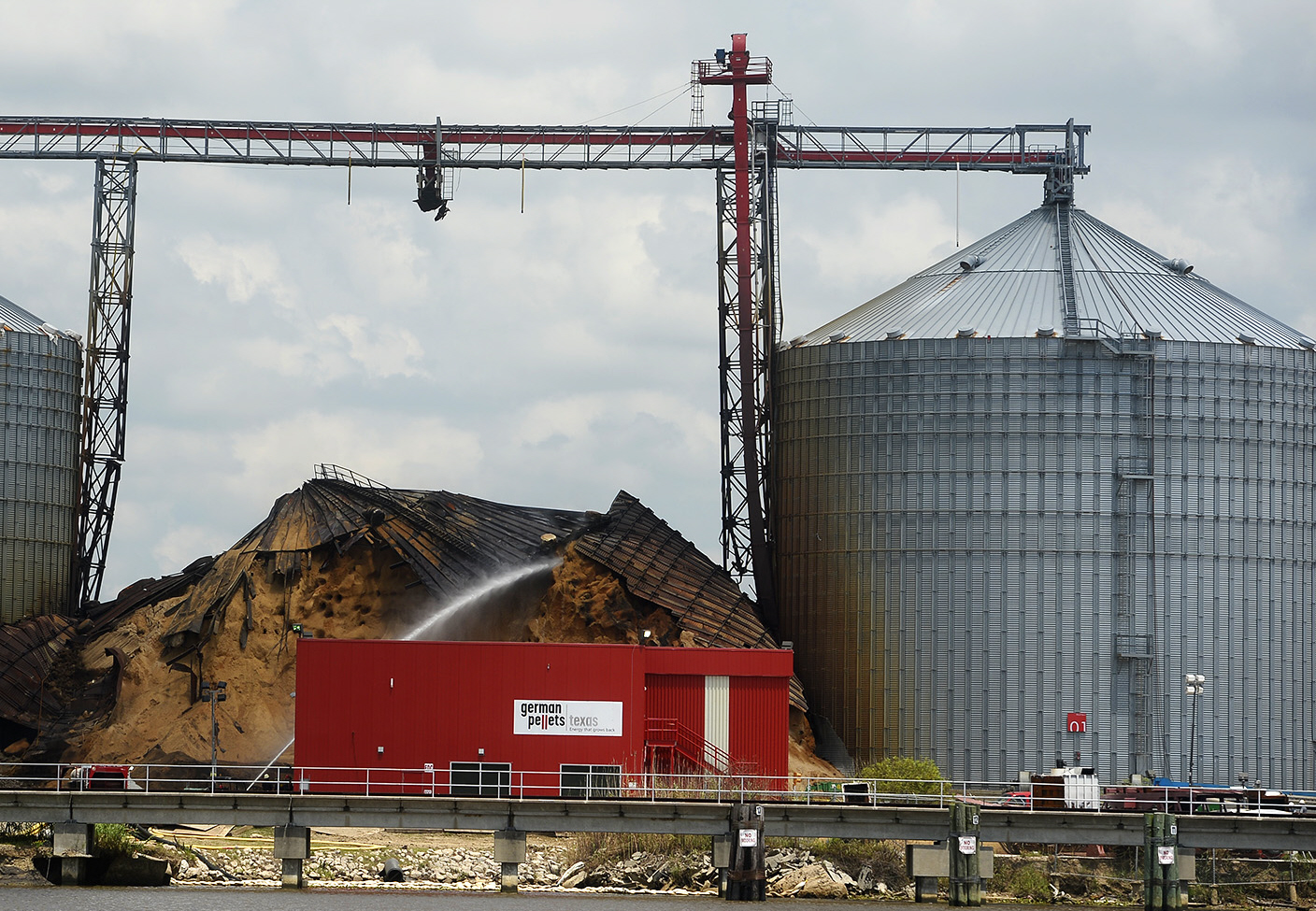 The collapsed silo at the German Pellets Texas site in Port Arthur