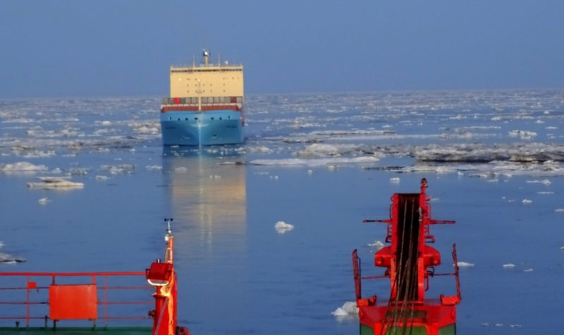 VENTA MAERSK in the Eastern Siberian Sea. (Photo: High North News from Rosatomflot