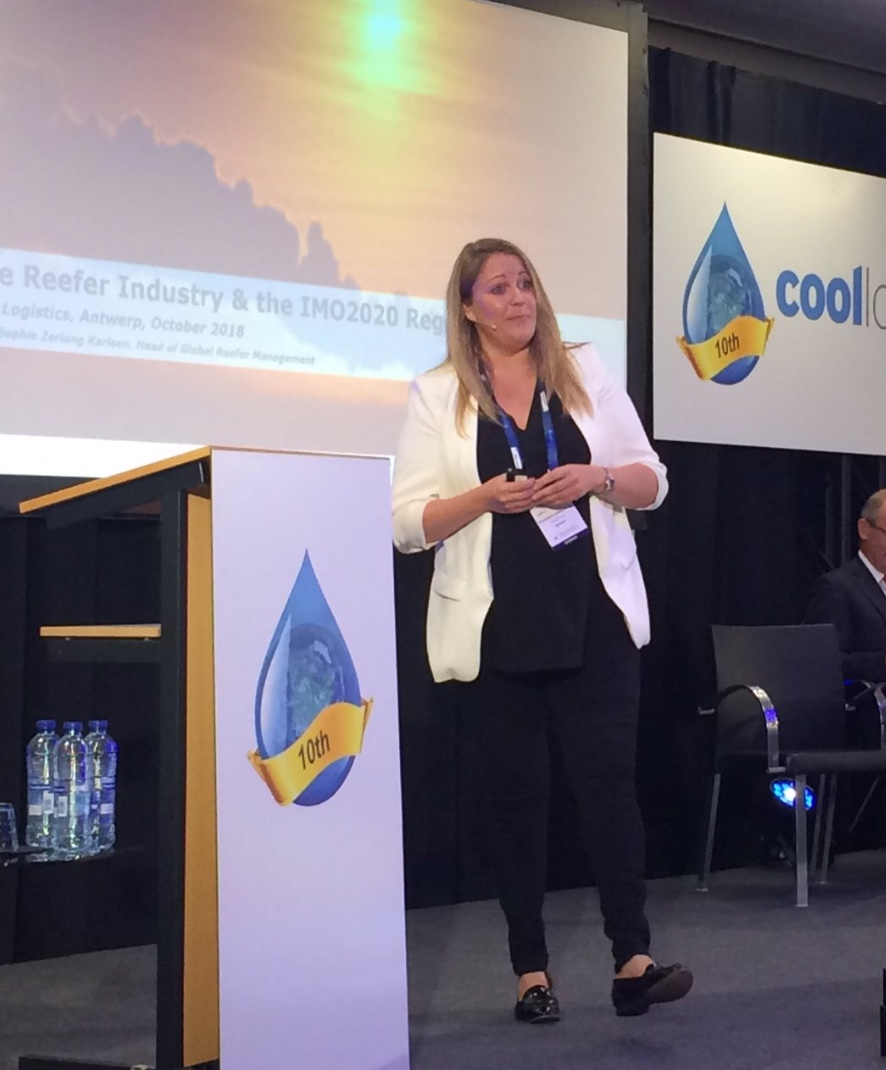 Anne-Sophie Zerlang Karlsen, speaking at Cool Logistics 10th Anniversary conference in Antwerp