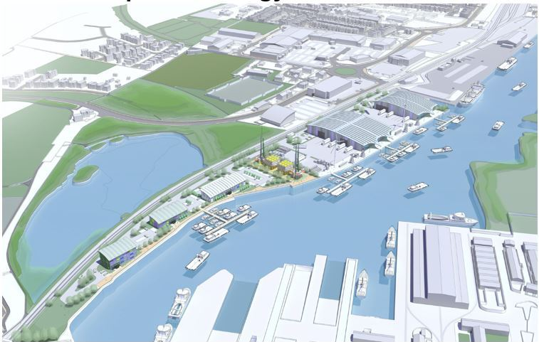 Chetwoods' impression of the future East of England energy hub at Lowestoft