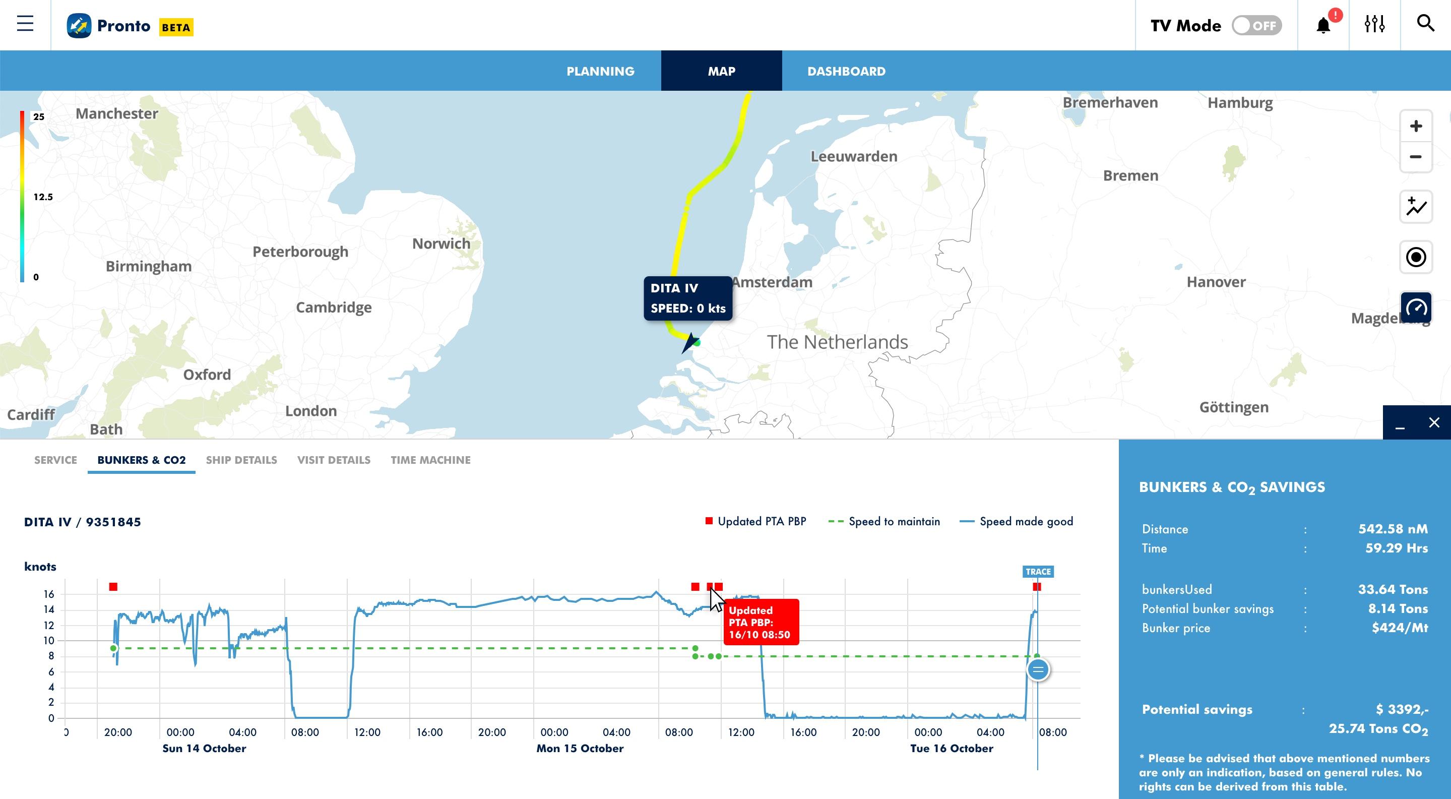 Screenshot of the Port of Rotterdam's Pronto call optimisation program