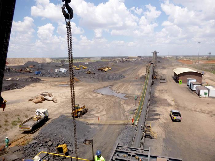 The chutes help move crushed ore at Tshipi Borwa Mine