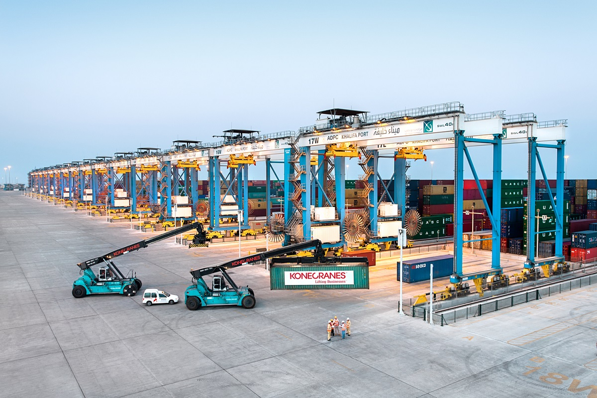 Rows of Konecranes ASCs, and Konecranes reach stackers, at ADT Khalifa
