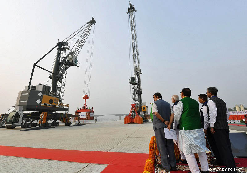 Narendra Modi officially inaugurated the port and welcomed the first container vessel