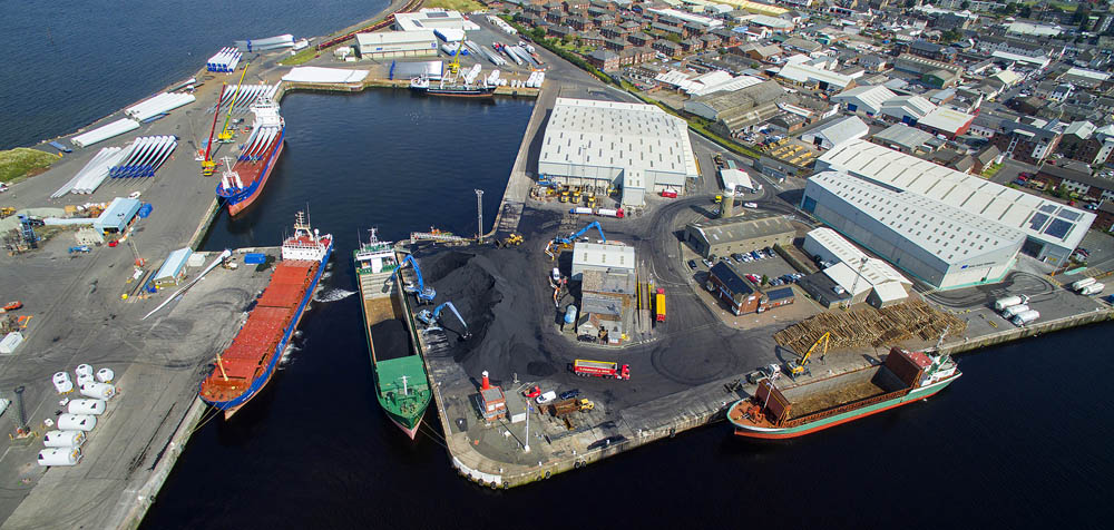 An aerial view of the Port of Ayr