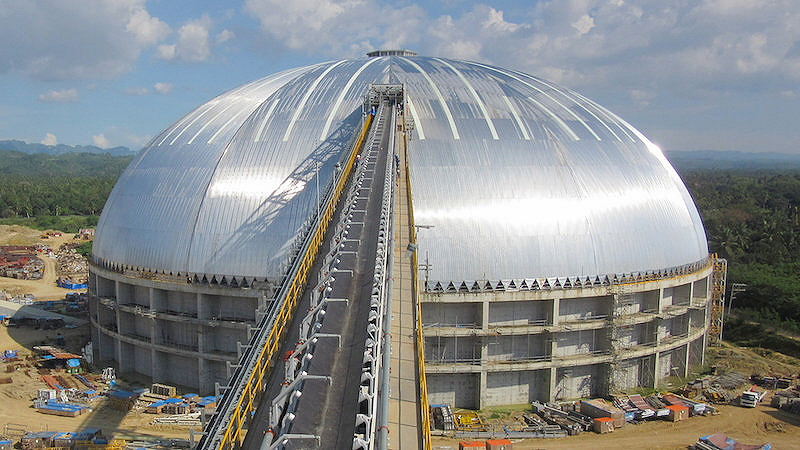 Geometrica supplied this 126m coal storage dome to a customer in the Philippines