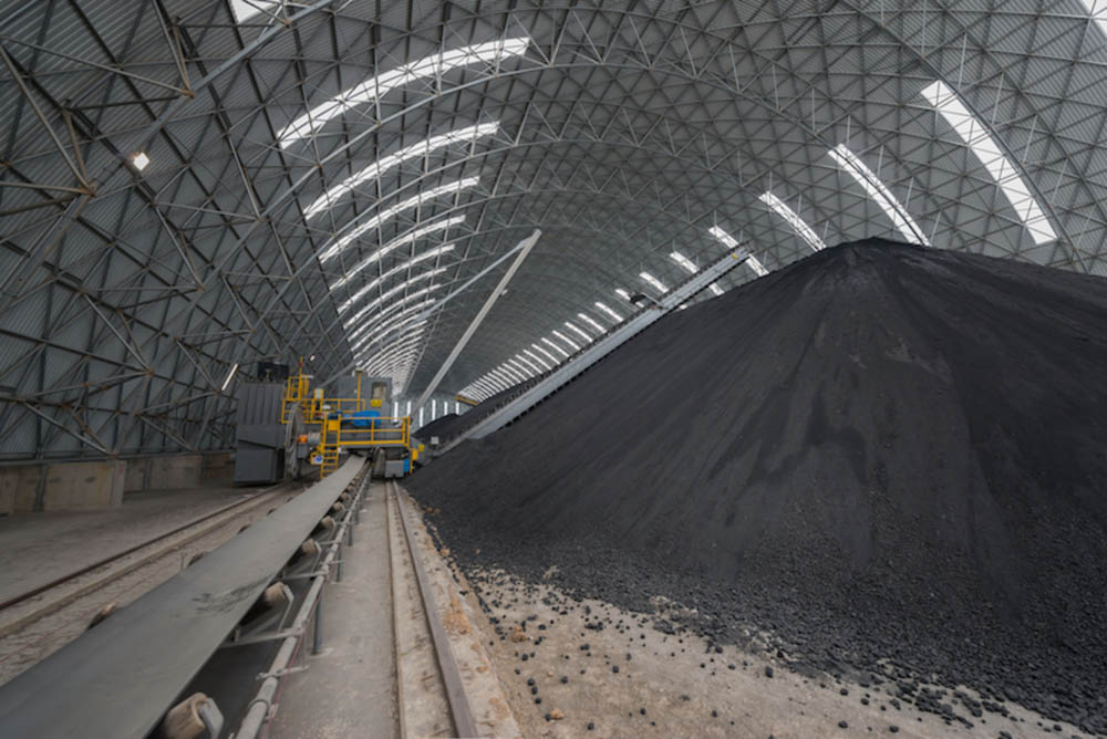 A 300m long coal storage vault in Tunisia, supplied by Geometrica