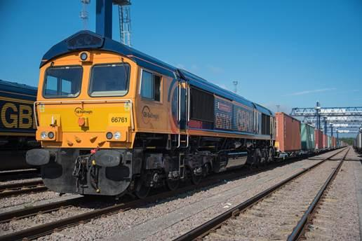 GB Railfreight train at the Port of Felixstowe