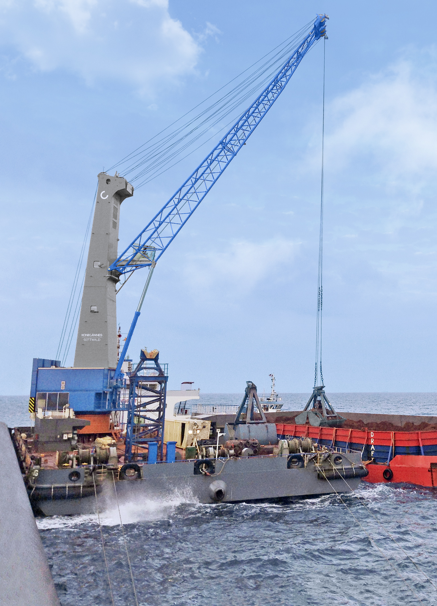 Konecranes Gottwald Model 8 HPKs are widely used for barge-to-ship transhipment of bulk cargoes