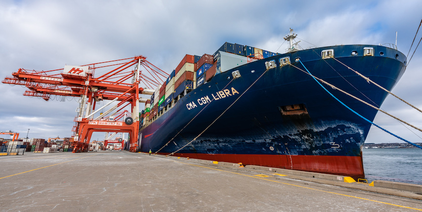The 11,400 TEU CMA CGM Libra calling at Halterm