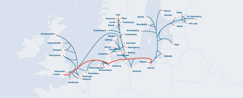 Unifeeder's Baltic Sea/North Sea network with the new service shown in red