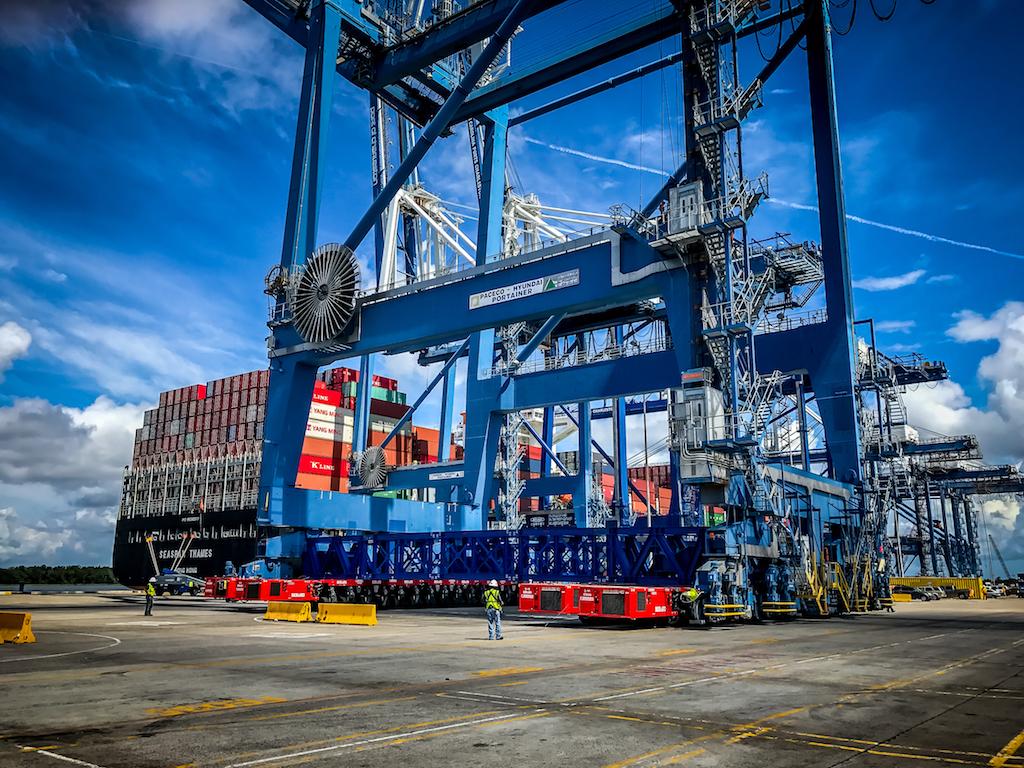 ZPMC USA raised cranes in Charleston built by Paceco Hyundai