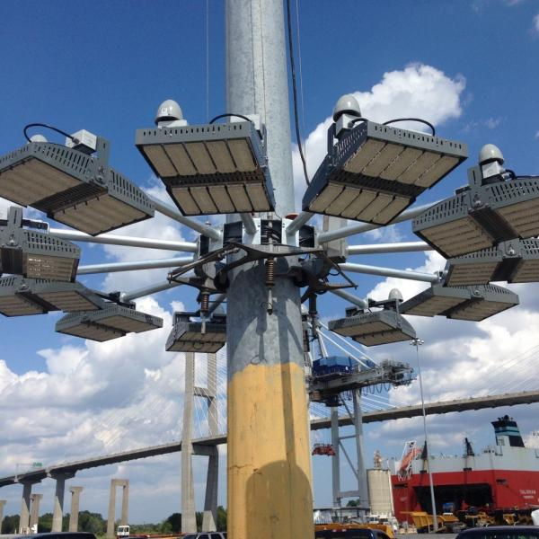 BLS LED fixtures with wireless control at the Ocean terminal in Savannah.