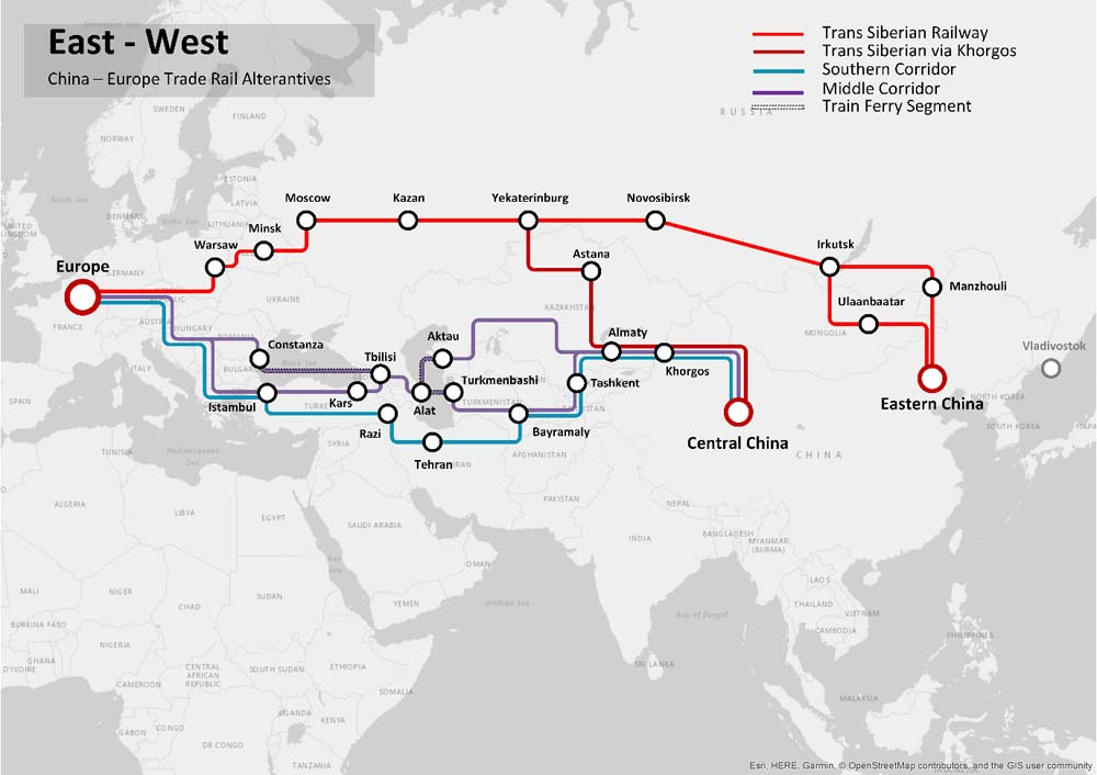 With various rail routes from China to Europe, CIS and CAS states are playing an important role.