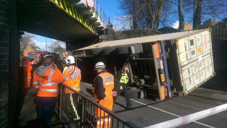 Aftermath of a rail bridge strike by a container truck in Erdington. (Photo: Birmingham Mail)
