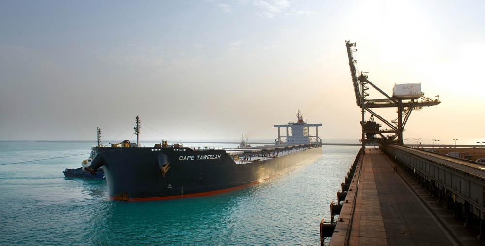 The MV CAPE TAWEELAH berthing at Khalifa Port