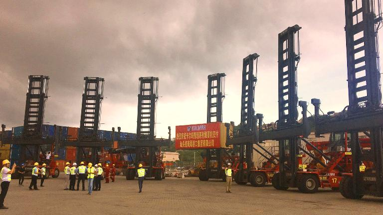 "The new Kalmar ""Essential"" model dedicated EC mast trucks at Shantou China Merchants Port"