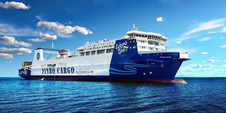 FINBO CARGO (ex-EUROPEAN ENDEAVOUR) in her new Eckerö Line livery