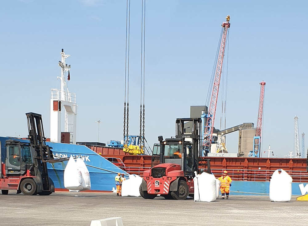 The first vessel on the new service being unloaded at Immingham