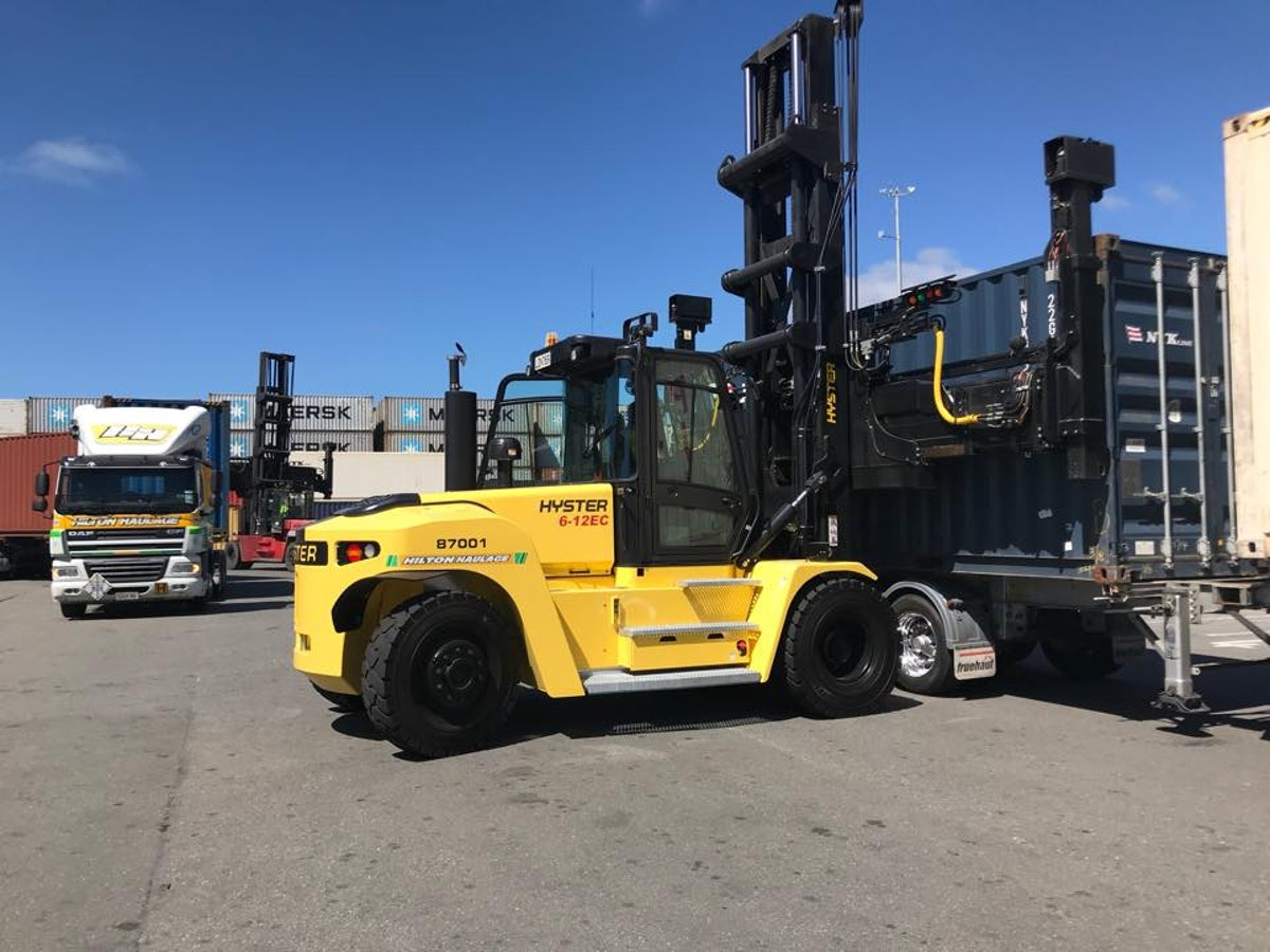 Hyster empty handler in service with Hilton Haulage