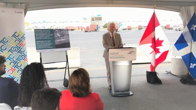 Canada's Transport Minister, Marc Garneau, announcing the new funding in Montreal.