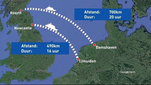 Comparing the mooted new service with Newcastle-IJmuiden. (all photos from RTV Noord)