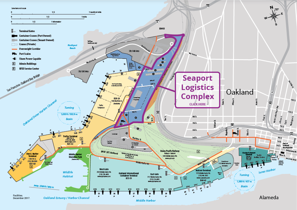The location of the Seaport logistics complex, with SSA Marine's terminal in the channel below.