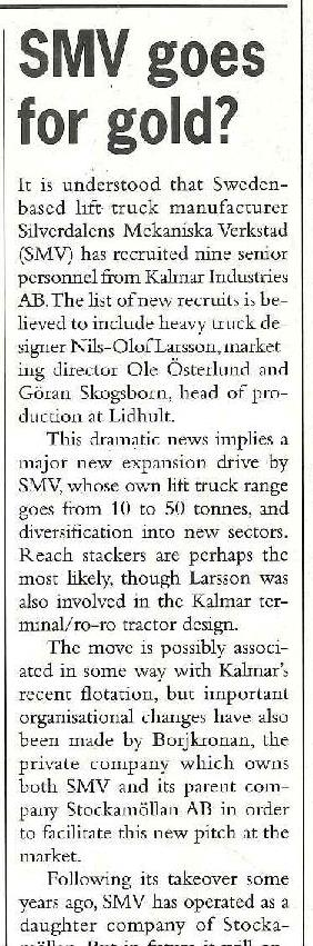 Extract from the front page article in August 1994 WorldCargo News