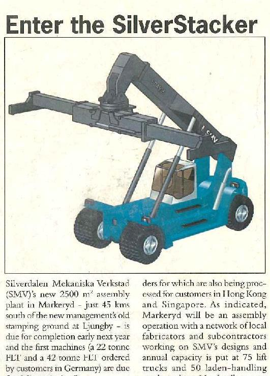 WorldCargo News' report of SMV's first reach stacker order, November 1994. (Actual machine above)
