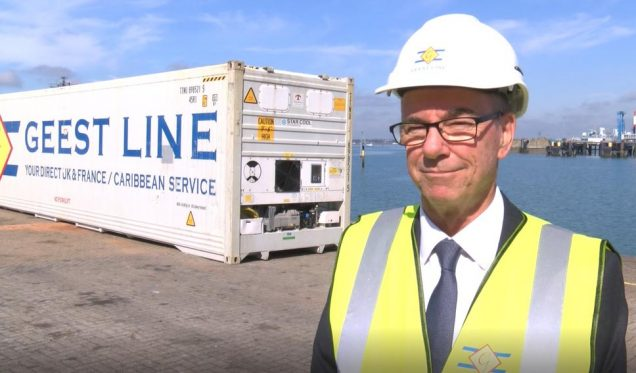 Captain Peter Dixon announced that Geest Line is returning to Portsmouth in January