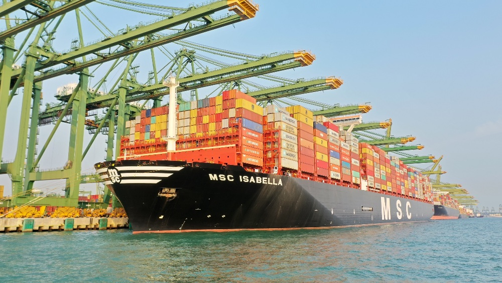 MSC ISABELLA at berth in Singapore - nine cranes were initially deployed over her