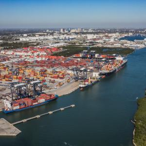 Containers and new automobiles are up at Port Everglades