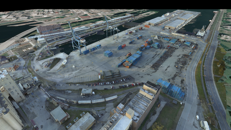 A model of Montreal's Bickerdike pier in PreVu3D