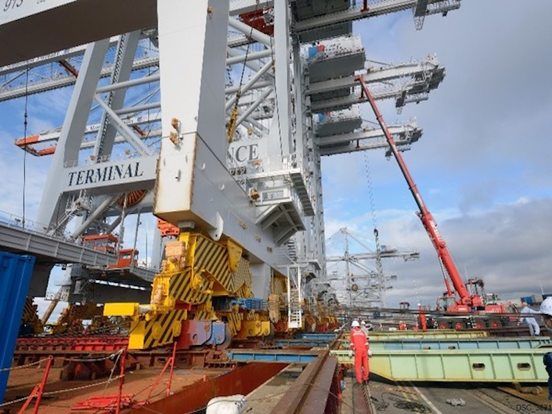 Four large ZPMC STS cranes arrive in Le Havre