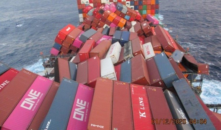 Stacks collapse & boxes overboard from ONE vessel