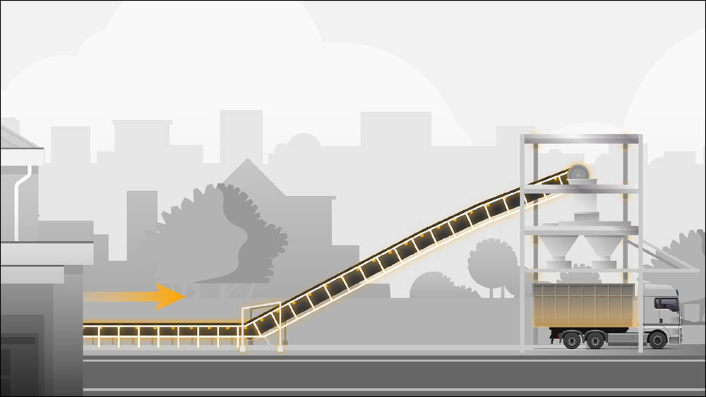 The conveyor reduces truck trips in tight residential areas