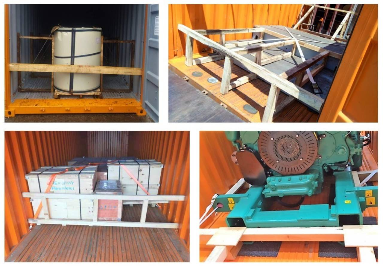 Examples of cargo lashing on a steel floor (all pictures Hapag_lloyd)