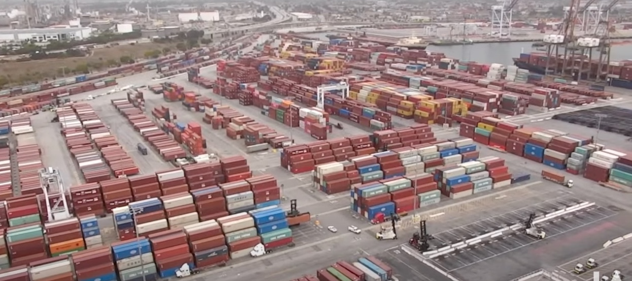 The Yang Ming terminal in Los Angeles - terminals in the port are running at over 90% of storage capacity.