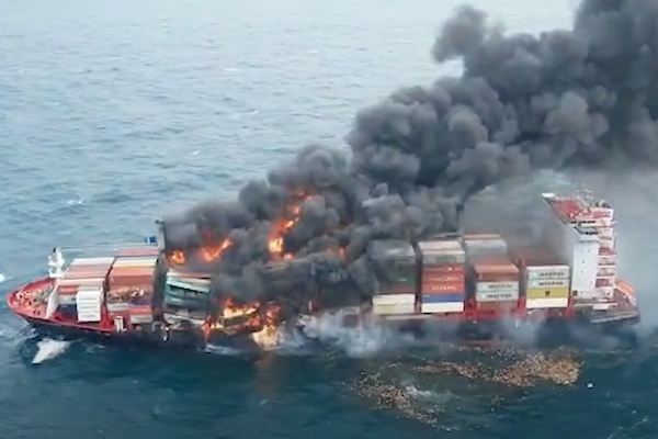 Containership fire out of control