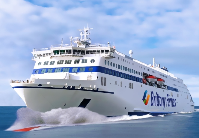 Impression of the new hybrid LNG-electric ro-paxes, from Brittany Ferries