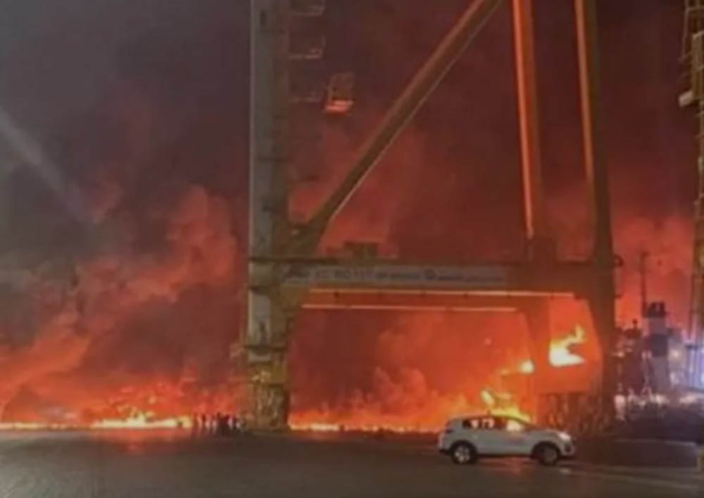 Explosion and fire at Jebel Ali port