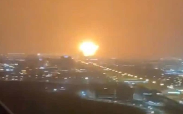 View of the explosion from Dubai (source Dubai Media Office Twitter)